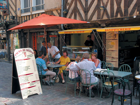 Typical street cafe in Rennes