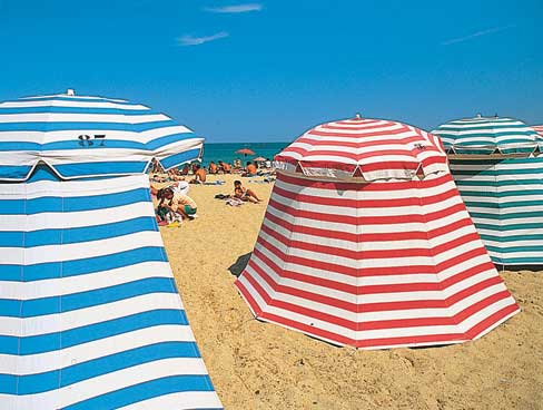 Stripey tents Biarritz beach Aquitaine