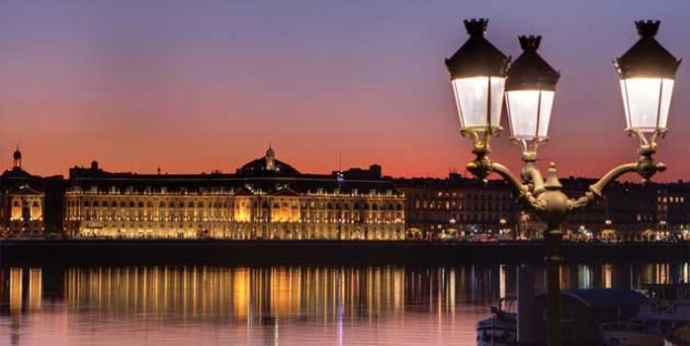 The city of Bordeaux at sunset