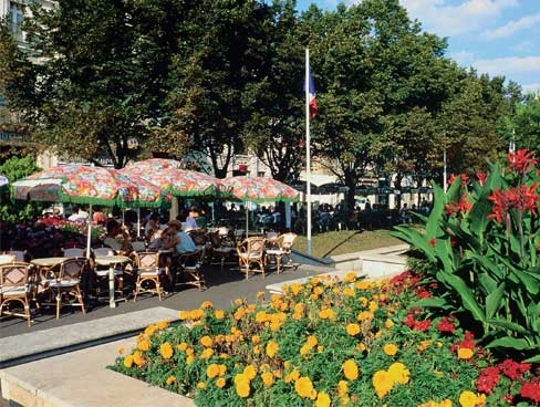Cafe terrace in the centre of Poitiers Poitou Charentes