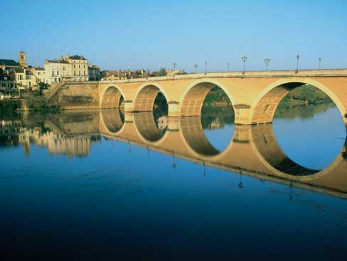 Picturesque bridge in Bergerac Aquitaine France