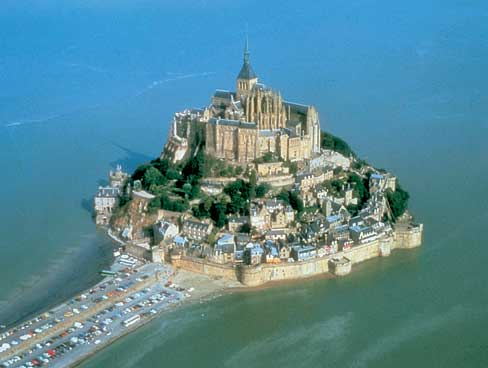 Aerial shot of Mont St Michel