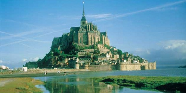 View of Mont St Michel island and abbey