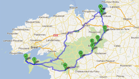 Roger's Brittany motorcycle route