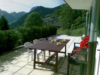 Patio overlooking French Alps