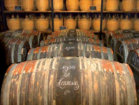 Barrels of cognac House of Hennessy