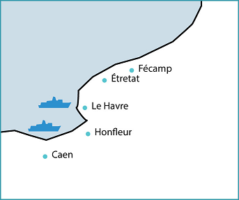 Map of the Alabaster Coast, Seine-Maritime, Normandy