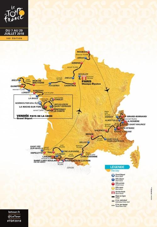 Tour de France route map 2018